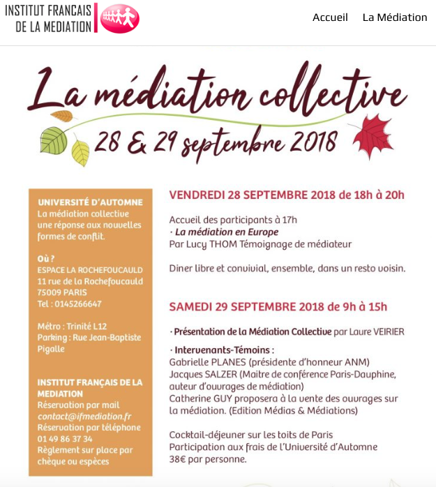 Lucy Thom - CAOS Mediation Workshop - Institute Francais de la Mediation. Lucy provides mediation in the Dorset Hampshire and Wiltshire counties in England.